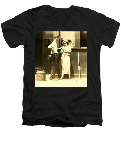 Men's V-Neck T-Shirt featuring the photograph Vintage Love In Memory Of My Deceased Grandfather From Ireland I Never New by Michael Hoard