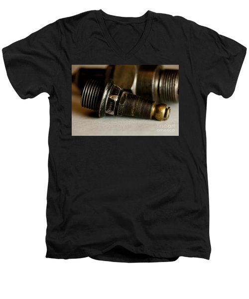 Men's V-Neck T-Shirt featuring the photograph Vintage Motorcycle Spark Plugs by Wilma  Birdwell