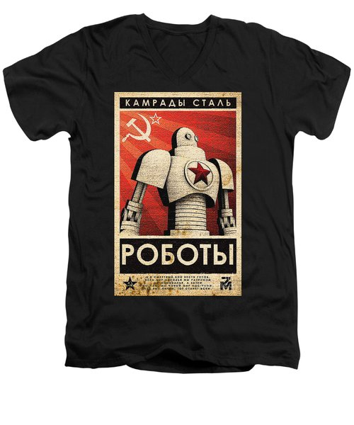 Vintage Russian Robot Poster Men's V-Neck T-Shirt