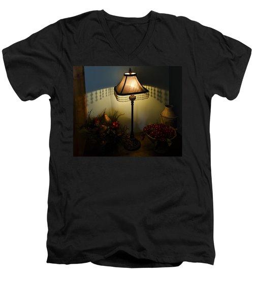Vintage Still Life And Lamp Men's V-Neck T-Shirt