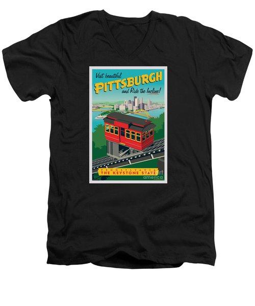 Vintage Style Pittsburgh Incline Travel Poster Men's V-Neck T-Shirt by Jim Zahniser