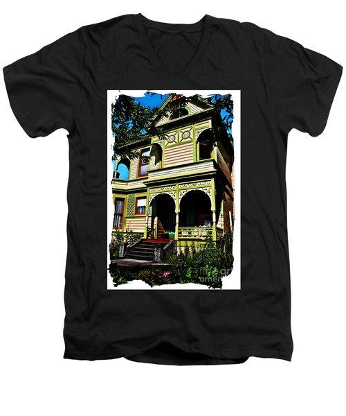Men's V-Neck T-Shirt featuring the digital art Vintage Victorian Home Watercolor Style Art Prints by Valerie Garner