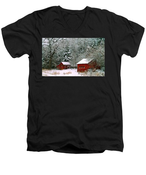Vintage Winter Barn  Men's V-Neck T-Shirt