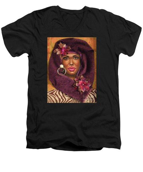 Men's V-Neck T-Shirt featuring the painting Violets by Alga Washington