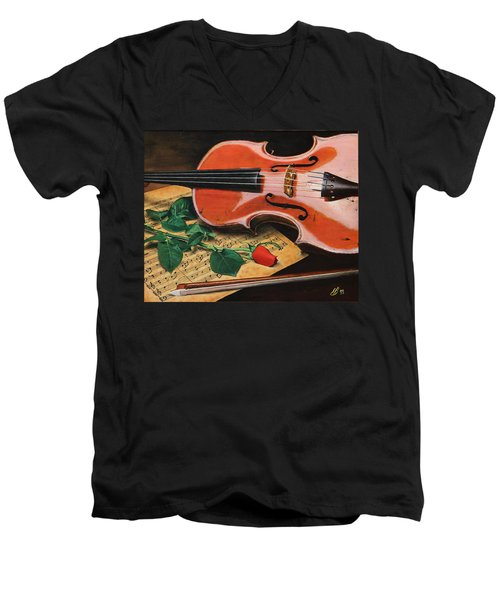 Violin And Rose Men's V-Neck T-Shirt