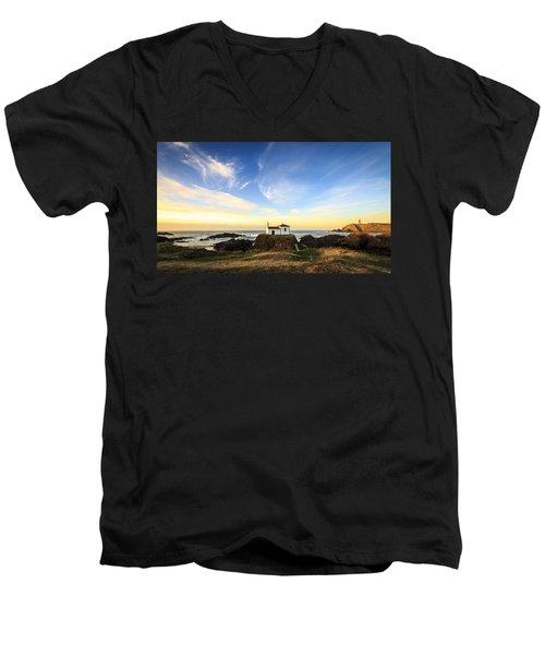 Men's V-Neck T-Shirt featuring the photograph Virxe Do Porto Meiras Galicia Spain by Pablo Avanzini