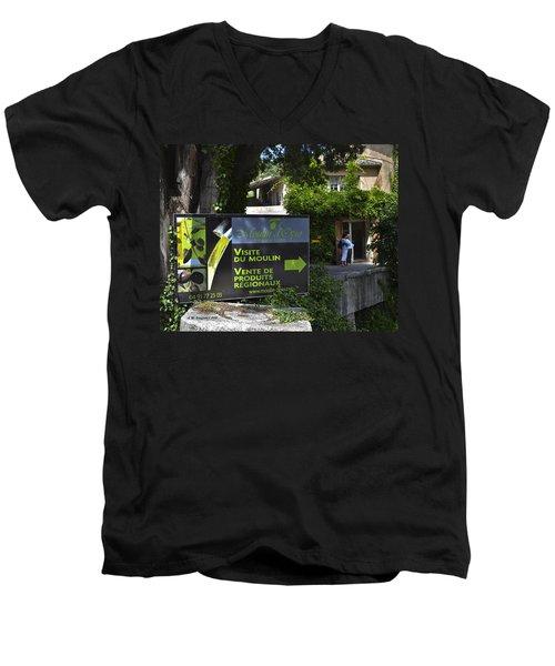 Men's V-Neck T-Shirt featuring the photograph Visite Du Moulin by Allen Sheffield