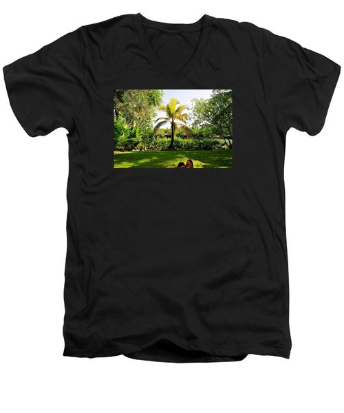 Men's V-Neck T-Shirt featuring the photograph Visiting A Mayan Trail by Kicking Bear  Productions
