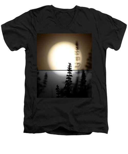 Men's V-Neck T-Shirt featuring the photograph Vitex Moon by Charlotte Schafer