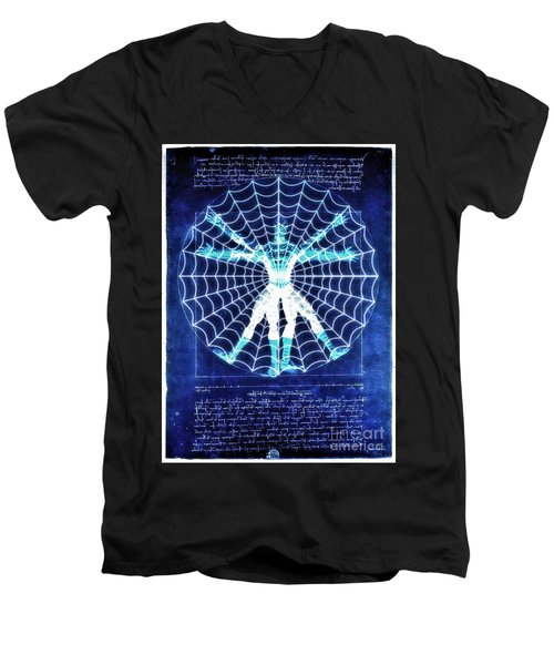 Vitruvian Spiderman White In The Sky Men's V-Neck T-Shirt