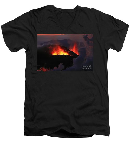 Men's V-Neck T-Shirt featuring the photograph Volcanic Eruptions by Gunnar Orn Arnason