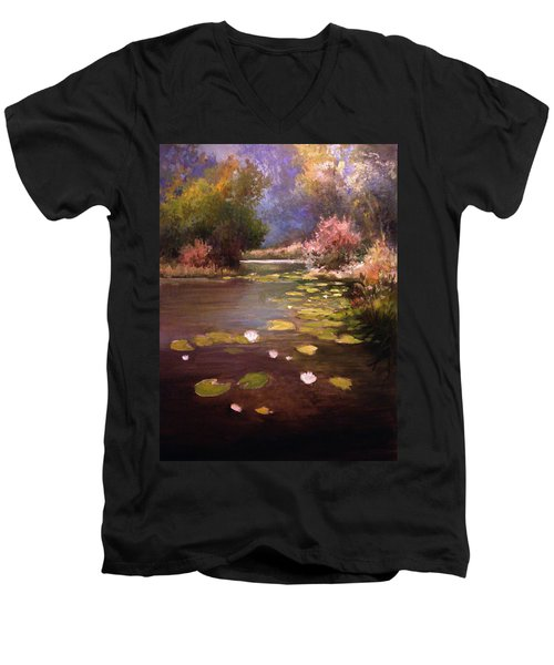 Men's V-Neck T-Shirt featuring the painting Voronezh River by Mikhail Savchenko