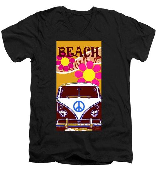 Vw Beach  Tan Men's V-Neck T-Shirt