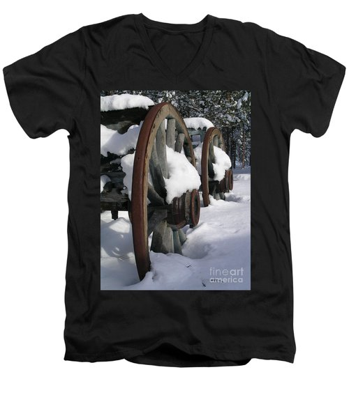Men's V-Neck T-Shirt featuring the photograph Wagons West by Jennifer Lake