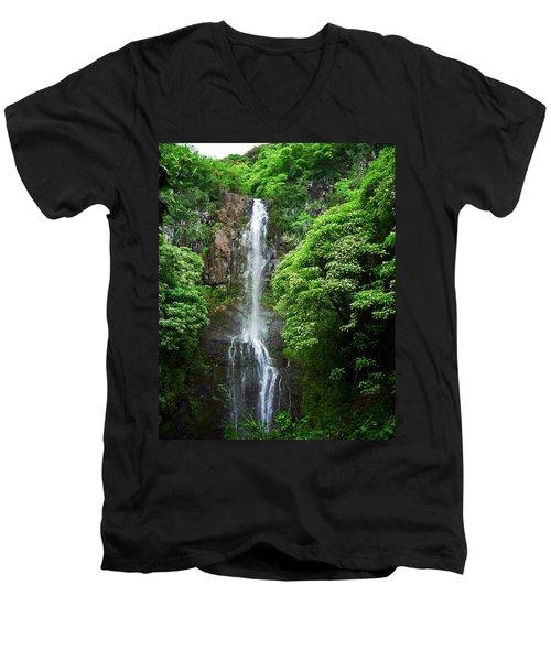 Men's V-Neck T-Shirt featuring the photograph Waikani Falls At Wailua Maui Hawaii by Connie Fox