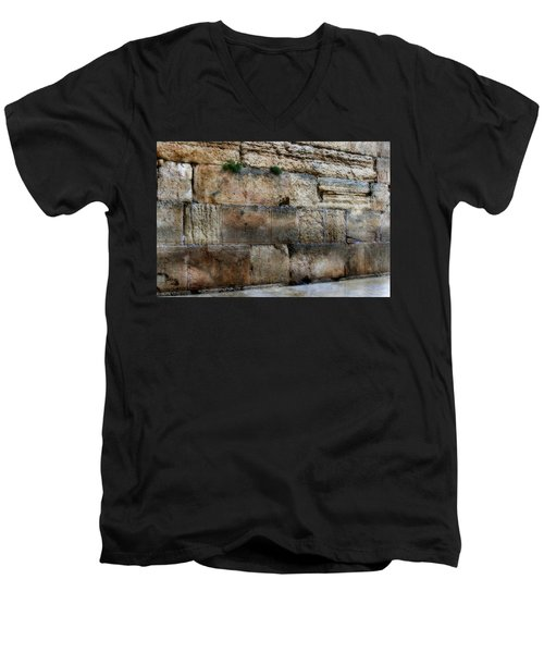 Men's V-Neck T-Shirt featuring the photograph Wailing Wall In Israel by Doc Braham