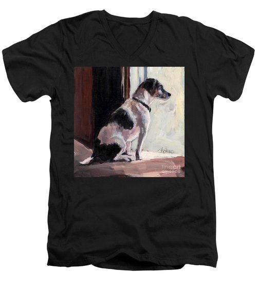 Men's V-Neck T-Shirt featuring the painting Wait And See by Molly Poole
