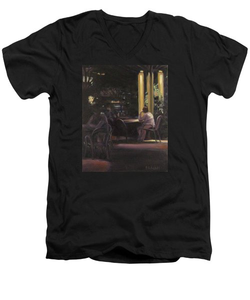 Waiting At The Night Cafe Men's V-Neck T-Shirt by Connie Schaertl