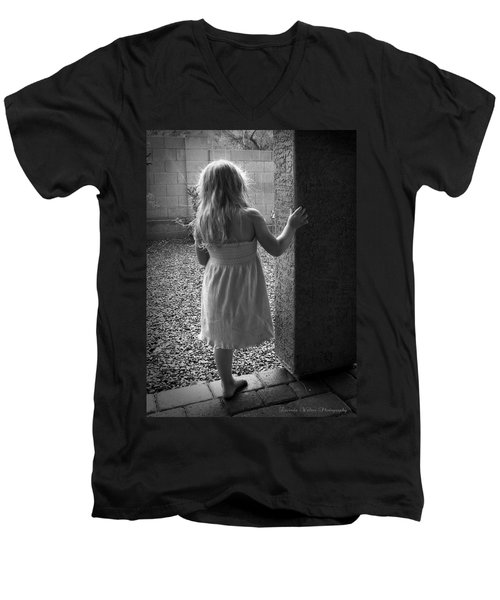 Men's V-Neck T-Shirt featuring the photograph Waiting For The Rain To End  by Lucinda Walter