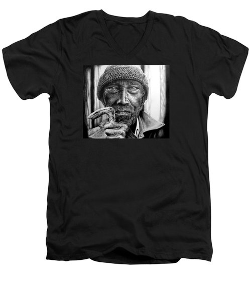 Man With Cane Men's V-Neck T-Shirt by Geni Gorani