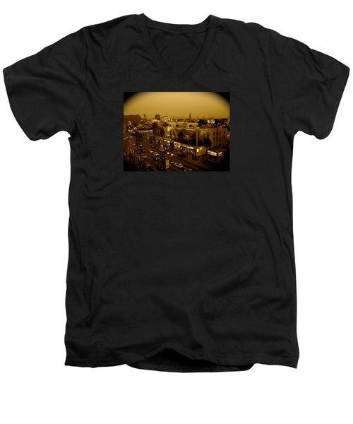 Walk Of Fame Hollywood In Sepia Men's V-Neck T-Shirt