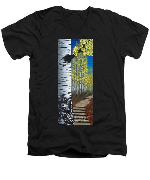 Walk Through Aspens Triptych 1 Men's V-Neck T-Shirt