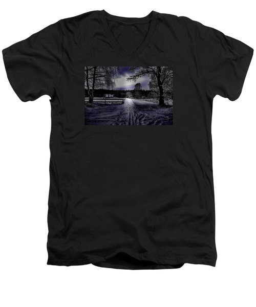 Men's V-Neck T-Shirt featuring the photograph #walk-way In A Pinhole Presentation Over Dyarna A #winter #day Near City Enkoping Sweden January 201 by Leif Sohlman