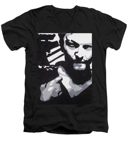 Walking Dead Daryl Close Men's V-Neck T-Shirt by Marisela Mungia