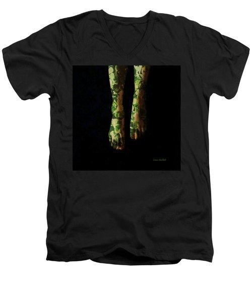 Walking In Clover Men's V-Neck T-Shirt by Donna Blackhall