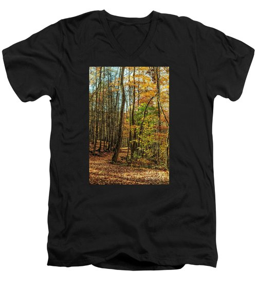 Men's V-Neck T-Shirt featuring the photograph Walking The Mountain Trail by Debbie Green