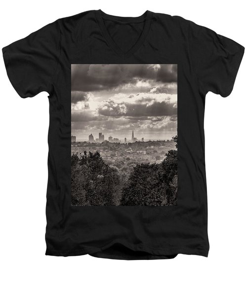 Men's V-Neck T-Shirt featuring the photograph Walking The Sights by Lenny Carter