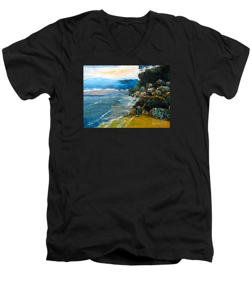 Walomwolla Beach Men's V-Neck T-Shirt by Pamela  Meredith