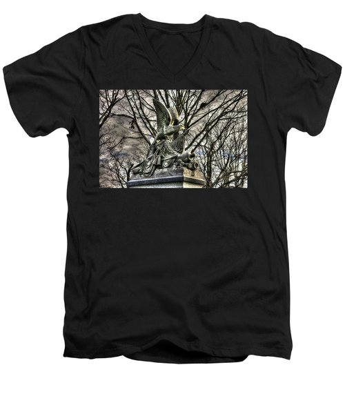 Men's V-Neck T-Shirt featuring the photograph War Eagles - 88th Pa Volunteer Infantry Cameron Light Guard-d1 Oak Hill Autumn Gettysburg by Michael Mazaika