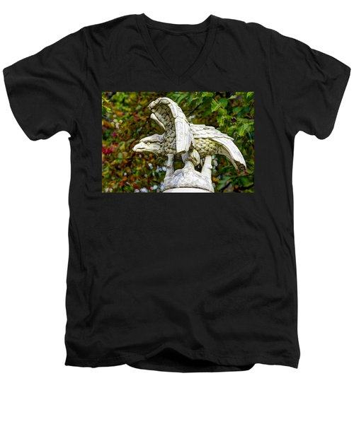 Men's V-Neck T-Shirt featuring the photograph War Eagles - Vermont Company F 1st U. S. Sharpshooters Pitzer Woods Gettysburg by Michael Mazaika