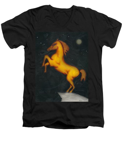 Men's V-Neck T-Shirt featuring the painting War Horse. by Kenneth Clarke