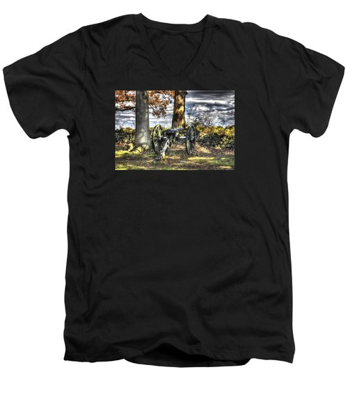 Men's V-Neck T-Shirt featuring the photograph War Thunder - Lane's Battalion Ross's Battery-b1 West Confederate Ave Gettysburg by Michael Mazaika