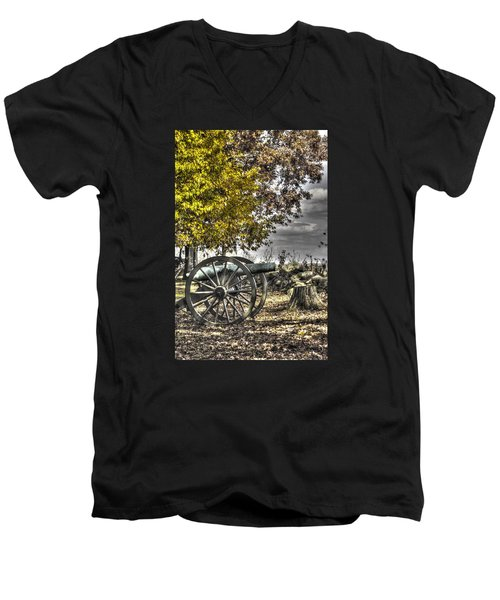 Men's V-Neck T-Shirt featuring the photograph War Thunder - The Purcell Artillery Mc Graw's Battery-a2 West Confederate Ave Gettysburg by Michael Mazaika