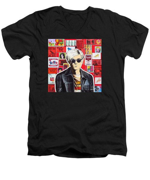 Men's V-Neck T-Shirt featuring the mixed media Warhol by Joseph Sonday