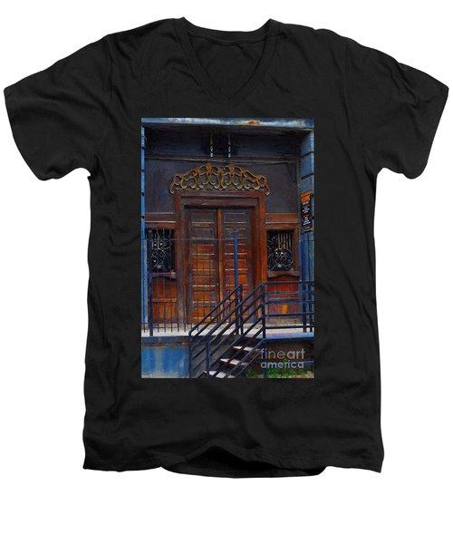 Warning Do Not Enter - Oil Painting Men's V-Neck T-Shirt by Liane Wright