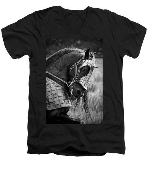 Warrior Horse Men's V-Neck T-Shirt by Wes and Dotty Weber