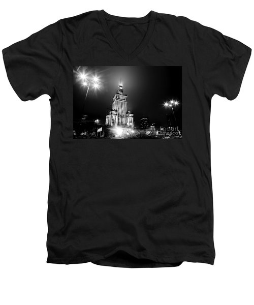 Warsaw Poland Downtown Skyline At Night Men's V-Neck T-Shirt by Michal Bednarek