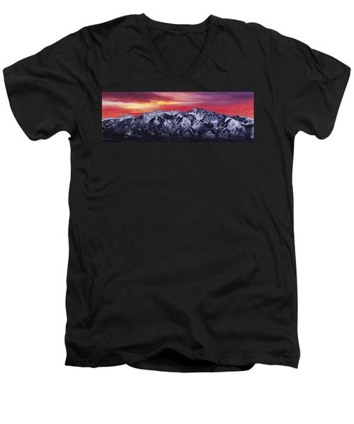 Wasatch Sunrise 3x1 Men's V-Neck T-Shirt by Chad Dutson