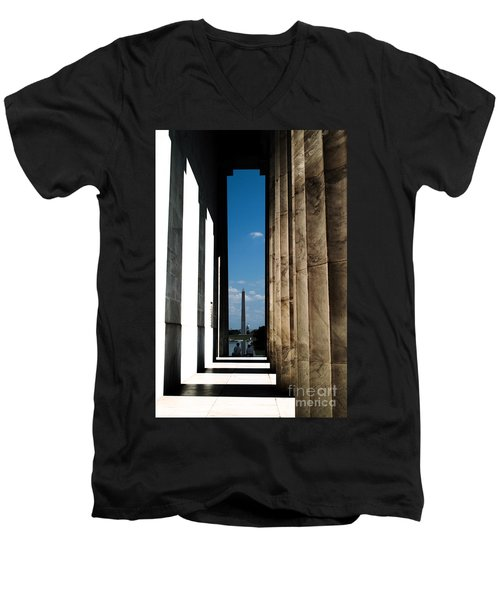Men's V-Neck T-Shirt featuring the photograph Washington Monument Color by Angela DeFrias