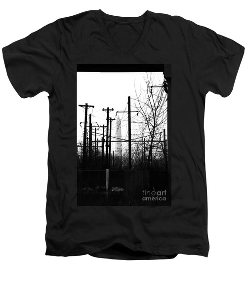 Washington Monument From The Train Yard. Washington Dc Men's V-Neck T-Shirt