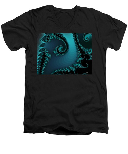 Men's V-Neck T-Shirt featuring the digital art Watchers On The Chalcedony Slide by Elizabeth McTaggart