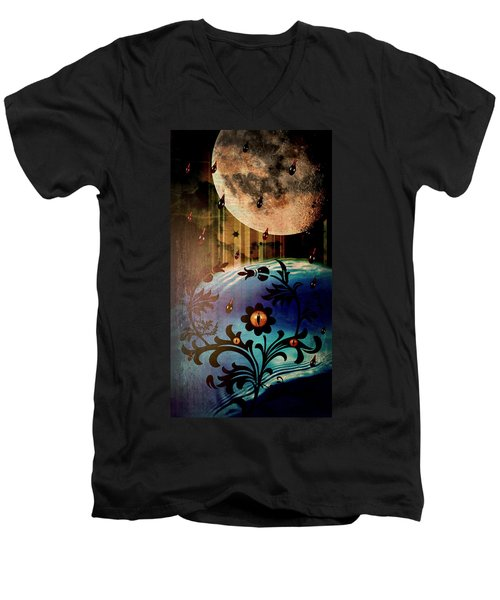 Men's V-Neck T-Shirt featuring the mixed media Watching by Ally  White