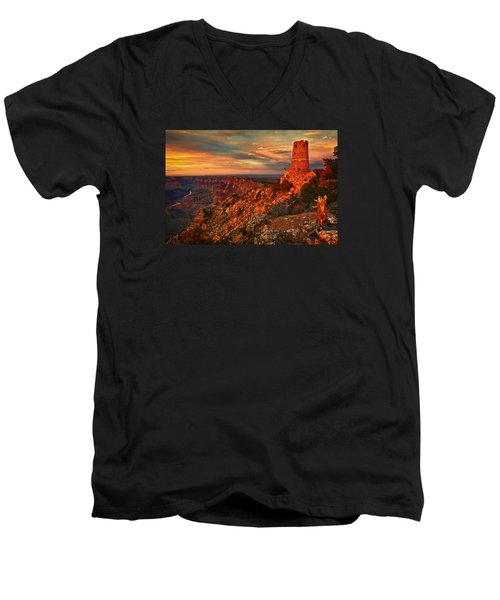 Men's V-Neck T-Shirt featuring the photograph Watchtower Sunset by Priscilla Burgers