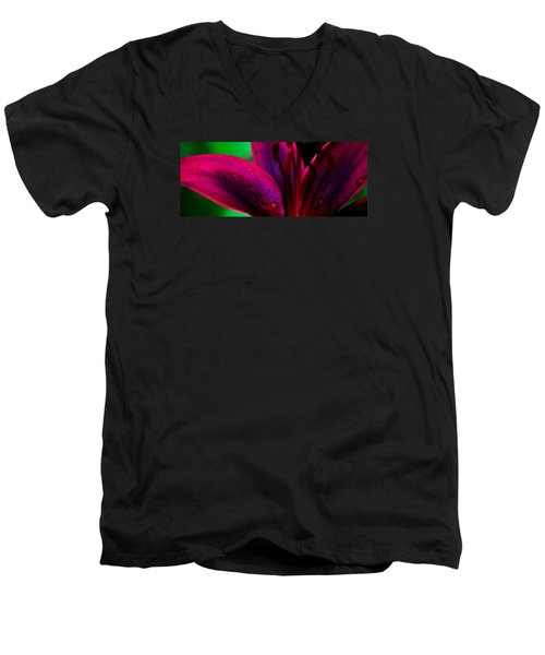 Water-drops On The Petal Men's V-Neck T-Shirt by Shelby  Young
