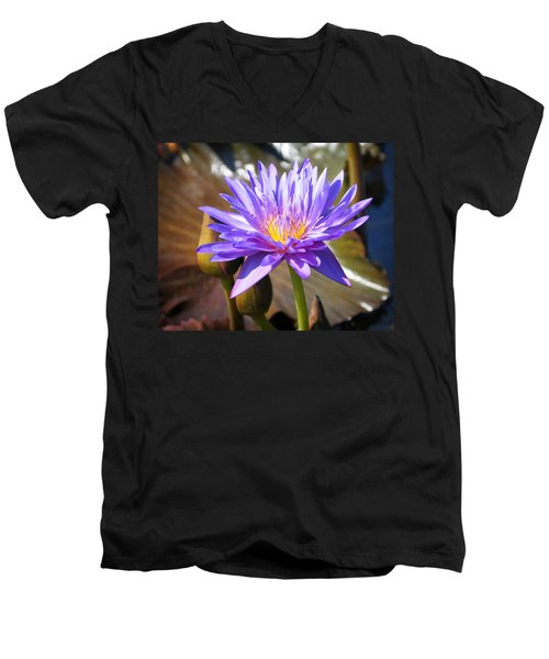 Men's V-Neck T-Shirt featuring the photograph Water Flower 1004d by Marty Koch