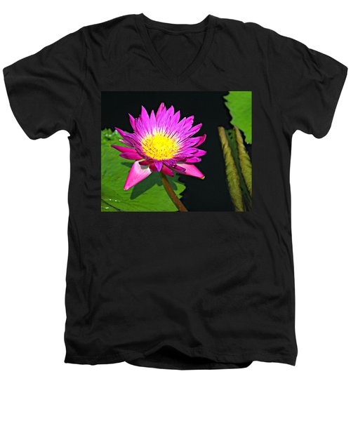 Men's V-Neck T-Shirt featuring the photograph Water Flower 10089 by Marty Koch